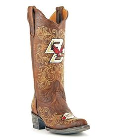 Boston College Eagles Brass Leather Cowboy Boot - Women