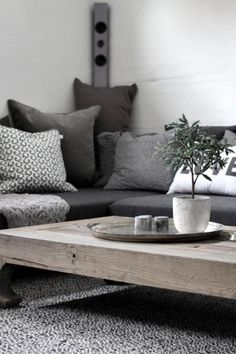 Grijstinten en stoere salontafel voor de woonkamer
