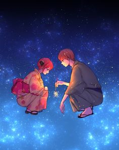 Anime: Gintama Personagens: Okita Sougo e Kagura Anime Chibi, Anime Manga, Anime Guys, Anime Art, Okikagu Doujinshi, Gintama Wallpaper, Shingeki No Bahamut, Sunset Wallpaper, Avatar Couple