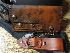Leather Biker Trucker Chain Wallet with Airbrushed by turboterra57, $150.00