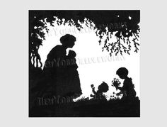 Mother and Children Pattern Silhouette Cross by NewYorkNeedleworks, $8.50