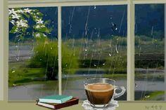 Анимация Чашка горячего кофе и книги на окне, за которым идет дождь
