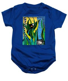 Whimsical Cat Art Baby Onesie based on the Colorful Painting Hunter in Camouflage by #dorahathazi  homedecor for babies, cat painting,  camouflage, eggs,  cats, quirky, colorful, gatos, kitty, kitten, feline, fantasy, pet, pets, painting,  watercolor, beautiful, tiles, mischievous, artwork, sweet, funny, purring, meow, pet, pets, playful, bright, lovely, lovable, catlover, catlovers, cute cat, cute kitty, colorful cat, cat hunting, for kids room, art for children, Dora Hathazi Mendes
