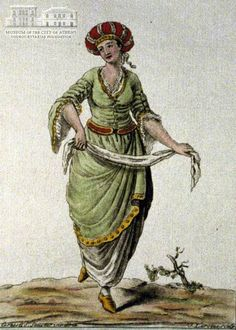 JACQUES GRASSET SE SAINT SAUVEUR (1757-1810) (painter) & J. LAROQUE (engraver) Woman from Crete in local attire 1784, coloured etching, 21 x 14.5 cm