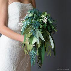 Paper Greenery Wedding Bouquet (Video)