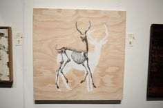 'Dead or Alive', acrylic and ink on wood by Joe McMenamin Moose Art, Ink, Wood, Animals, Animais, Animales, Woodwind Instrument, Animaux, Timber Wood