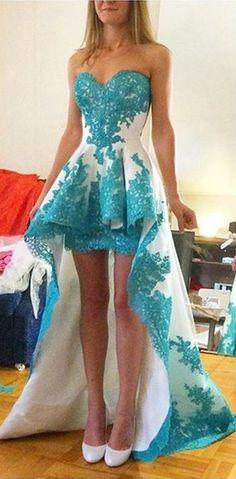 Fashion Blue Lace Appliques Prom Dress , Asymmetrical Prom Dress                                                                                                                                                                                 Mais
