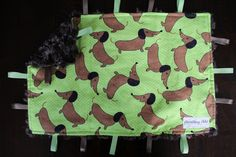 Baby Tag Blanket - Wiener Dogs - Brown and Green - Baby Boy - Gender Neutral - Ready to Ship