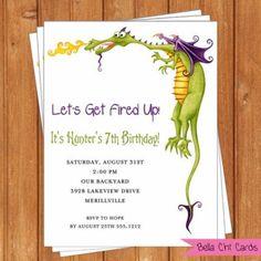 Dragon Invitation   Kids Birthday