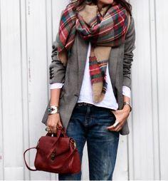 plaid scarf + grey jacket