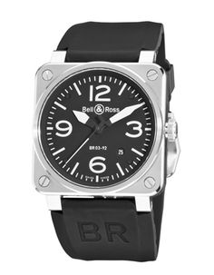 Bell & Ross BR 03-92    This automatic pilot's watch offers a more modest 42mm alternative to its predecessor's massive 46mm size. Water-resistant to 100 meters, the square-shaped case is crafted in satin-brushed steel and frames an easy-to-read black dial that is complemented by a sporty black rubber strap. Price: $3,400