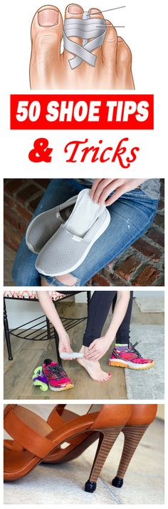 These 50 shoe tips and tricks will make your shoes so much more comfortable - you'll wish you knew them sooner! Use these hacks and your feet will surely thank you. Whether you are wearing heels, flats, or sneakers, these shoe tips and tricks are super ni Fru Fru, Moda Emo, Simple Life Hacks, Clothing Hacks, Makeup Tricks, Feet Care, Your Shoes, Health And Beauty, Shoe Boots