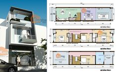 Thiết kế nhà đẹp diện tích 3,5x20m dạng ống kiến trúc hình khối hiện đại