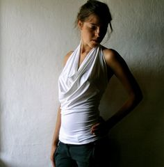 "This looks soft, comfortable and flattering...    I found it on larimeloom's ""Handmade Clothes for Women"" site (http://www.etsy.com/listing/61812870/white-jersey-halter-top)"