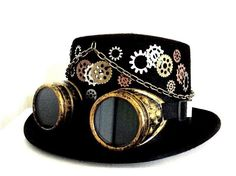 Steampunk Gothic Men's Black Top Hat w Goggles Gears and More Victorian