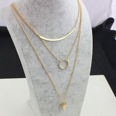 Punk Necklace Gold Multi Layer Necklace Rivet Pendant Necklace  #chain #jewellery #designerdivajewelry #bracelets #weddingjewelry