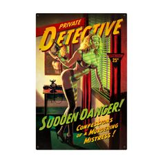 Vintage Sudden Danger - Pin-Up Girl Metal Sign 12 x 18 Inches Pulp Fiction Art, Pulp Art, Science Fiction, Zippo Lighter Rare, Sexy Pin Up Girls, Vintage Metal Signs, Pulp Magazine, Pin Up Art, Comic Book