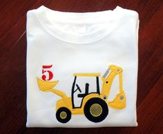 Boys Backhoe Construction Applique Shirt - Customizable w/ Name & Age - Personalized - Backhoe - Excavator- Boys Birthday Applique Shirt