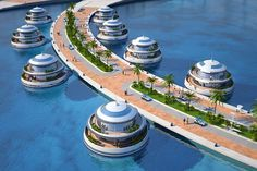 "Life goal #1000 - visit this floating/semi-submerged hotel in Qatar called ""Amphibious"" Guests can stay in the submerged suites called ""Jellyfish"" that feature underwater views to artificial reefs. Now that's CREATIVE!"