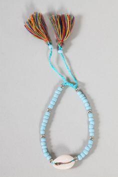 Armkette mit Muschel hellblau