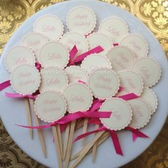 12 Personalized Cupcake Toppers. Tea Party. Pink by BellaBooSmile