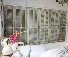 My new built in wardrobe featuring original french vintage shutters. #white #bedroom #parkinprimrose www.parkinprimrose.com