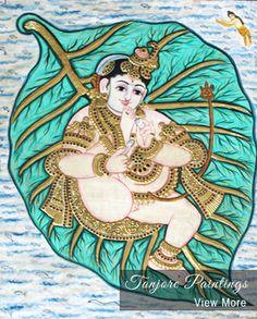 Krishna on Pepal Leaf signifies the beginning of creation. See more at https://www.madhurya.com/tanjore-paintings/krishna.html #tanjorepaintings #krishnapaintings