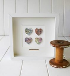 Beautiful personalised message and map picture with four small hearts in your choice of location. These beautiful vintage map pictures are handmade using vintage maps (please see important info tab below) to show your chosen locations. The picture has four raised small hearts on thin wood, so it stands out in the box frame. It is personalised with your choices of location and a message at the bottom if required.
