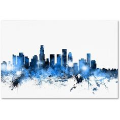 Trademark Fine Art Los Angeles California Skyline II Canvas Art by Michael Tompsett, Size: 22 x 32