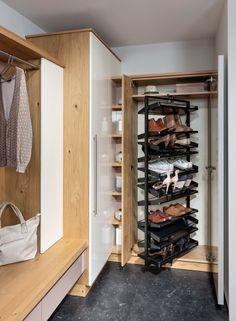 Vorzimmer | P.MAX Maßmöbel - Tischlerqualität aus Österreich Shoe Rack, Closet, Home Decor, Living Area, Hallways, Carpenter, Dressing Room Closet, Cool Furniture, Build House