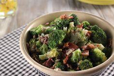 Trisha Yearwoods Broccoli Salad...So good!!! I use red grapes instead of raisins.