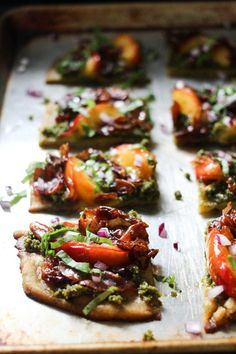 Nectarine and Prosciutto Pizza with Maple-Balsamic Reduction (Paleo Grain Free Gluten Free) | Rally Pure Necterine Recipes, Entree Recipes, Whole Food Recipes, Vegetarian Recipes, Dinner Recipes, Pizza Recipes, Snack Recipes, Snacks, Nut Free Pesto