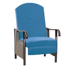 Brylanehome Extra Wide Textured Vinyl Outdoor Cushioned Recliner (Blue,0) BrylaneHome