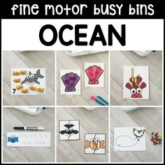 12 engaging OCEAN fine motor busy bins for preschool, pre-k, kindergarten kids to use during an under the sea theme as welcome work or small group practice! Learning Letters, Alphabet Activities, Learning Activities, Teaching Resources, Preschool Kindergarten, Toddler Preschool, Under The Sea Theme, Thematic Units, Math Numbers