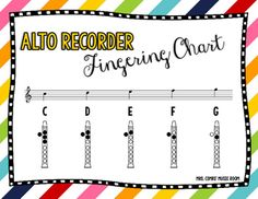 Recorder Fingering Charts For Alto Recorder Green  Display