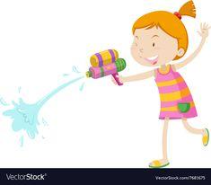Girl playing with water gun vector image on VectorStock Games For Kids, Adobe Illustrator, Vector Free, Guns, Pdf, Children, Water, Illustration, Artwork