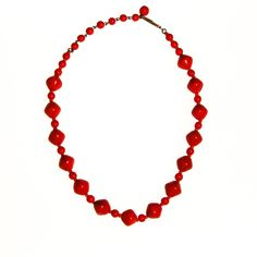 """DESCRIPTION Red Glass BeautyReady for RedFun, Retro Red Necklace with Art Glass BeadsWell made and unique to the wearer, a piece of 1940s iconic after war styleDETAILS1940s EraMade in West GermanyArt Glass Beads in RedJ Hook ClosureExcellent Vintage Condition MEASUREMENTS13-16 1/2"""" Long"""