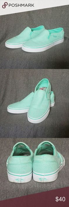 Mint Green Vans Asher Womens Slip-on shoes Vans slip on shoes in women's size 9.5 Worn once, no box, excellent condition Mint green color with classic Vans waffle sole, fun rainbow chevron pattern inside of shoes Vans Shoes Sneakers