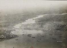 İşgal yıllarında İstanbul üzerinde keşif uçuşu yapan Fransız uçağından Haliç-e bakış.