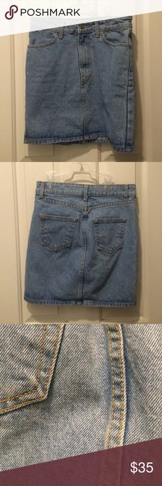 Denim Skirt Super super cute but it's a reposh, it didn't fit me quite right :( this is in really really good condition and the seller told me it was from Brandy Melville but it doesn't have any tags on it. It fits like the Lea Skirt from Brandy and I'm 80% sure that it actually is. Please let me know if you have any questions! Brandy Melville Skirts