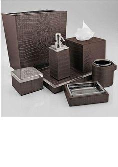 Attirant Kyoto Leather Bathroom Accessory Set Kyoto Leather (Wenge Faux Leather U0026  Ceramic) Bathroom Accessory Set Includes: Soap Dish Comb Holder Cou2026 |  Bathroomu2026