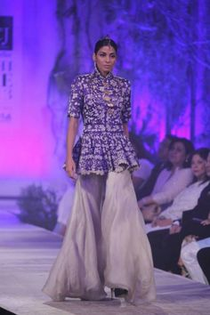 Delhi Couture Week 2013 - Anamika Khanna purple jacket white lengha