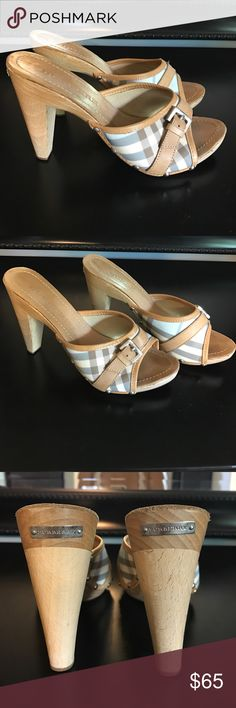 "Burberry Clog 4"" Multi Color- Nude, Tan, White, Blue with wooden heel. USED Burberry Shoes Sandals"