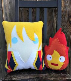 Calcifer Pillow plush cushion gift Howl's moving by telahmarie