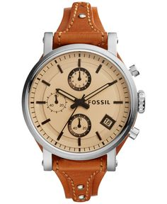 Fossil Women's Chronograph Original Boyfriend Dark Brown Leather Saddle Strap Watch 38mm ES4046