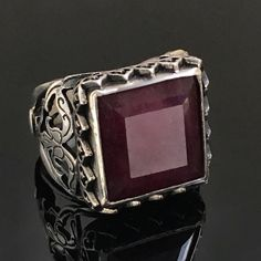 925 Sterling Silver Handmade Mens Ring natural Ruby size 9.75 Unique Jewelry #Handmade #Solitaire