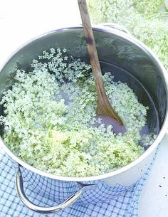 Making homemade Elderflower cordial.