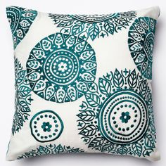 alexander home neva ivoryteal embroidered down feather or polyester filled 18inch throw pillow or pillow cover down feather filled blue size 18 x 18