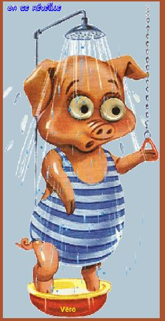 Pig taking a shower painted rock idea Pig Images, Cute Images, Cute Pictures, This Little Piggy, Little Pigs, Pig Illustration, Illustrations, Animation, Bane