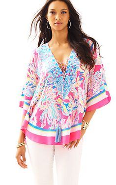 Lettie Silk Caftan Top-Dragonfruit Pink Sunken Treasure: $198